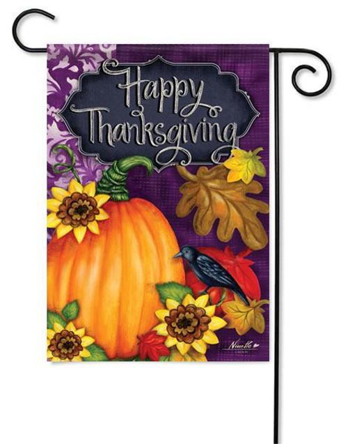 """Thanksgiving Pumpkin Garden Flag - 13"""" x 18"""" - 2 Sided Message"""