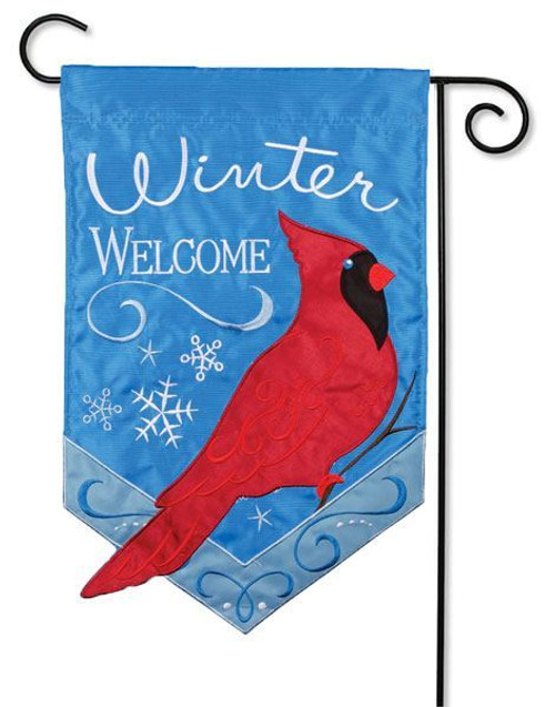"Winter Cardinal Applique Garden Flag - 13"" x 18"" - 2 Sided Message"