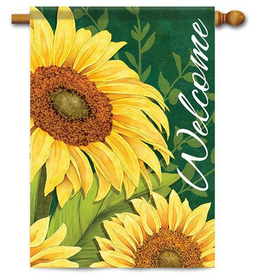 "Sunflower Welcome House Flag - 28"" x 40"" - 2 Sided Message"