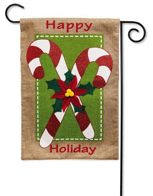 "Candy Canes Burlap Garden Flag - 12.5"" x 18"" - 2 Sided Message"