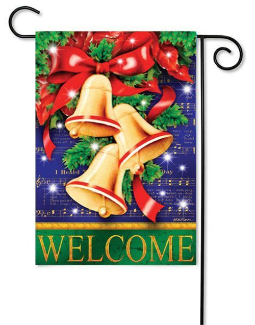 "Christmas Bells Garden Flag - 12.5"" x 18"" - Evergreen"