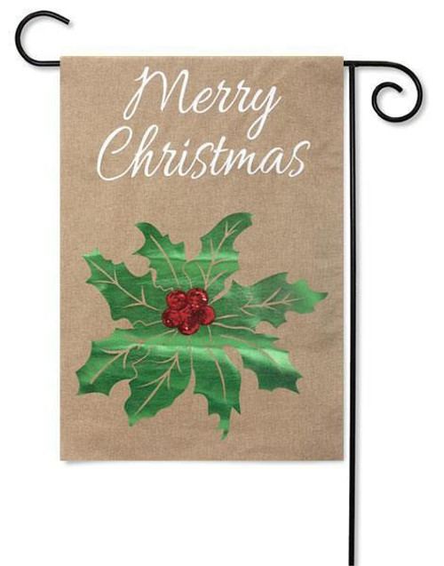 "Merry Christmas Holly Burlap Garden Flag - 12.5"" x 18"" - 2 Sided Message"