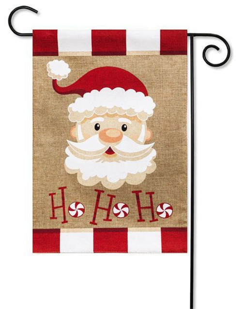 "Santa Ho Ho Ho Burlap Garden Flag - 12.5"" x 18"" - 2 Sided Message"