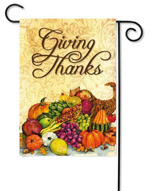 "Cornucopia Garden Flag - 12.5"" x 18"" - 2 Sided Message - Evergreen"