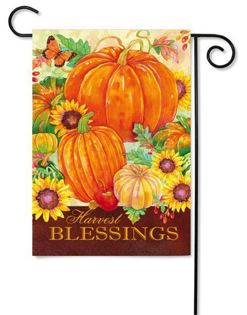 "Harvest Blessings Pumpkins Garden Flag - 12.5"" x 18"" - 2 Sided Message"