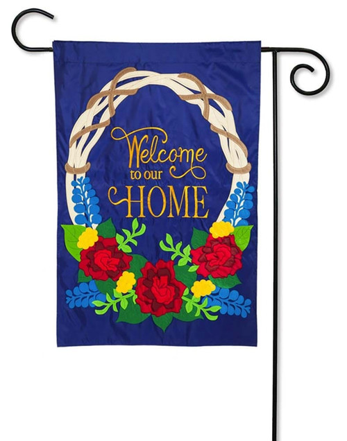 Welcome Wreath Applique Garden Flag