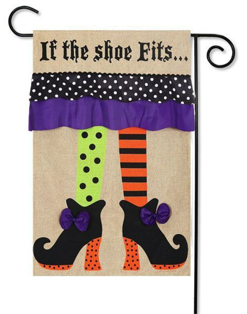 "If the Shoe Fits Burlap Garden Flag - 12.5"" x 18"" - 2 Sided Message"
