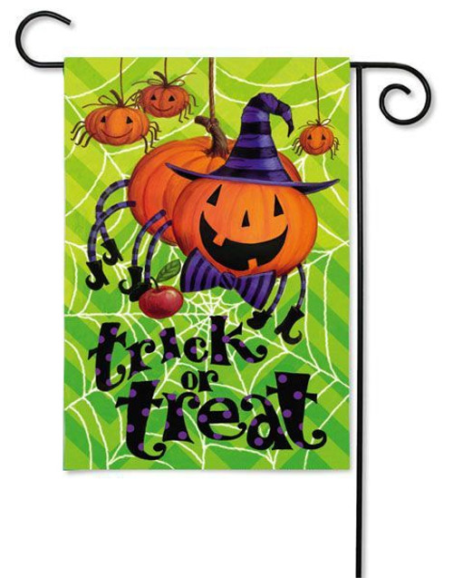 "Spider Pumpkin Garden Flag - 12.5"" x 18"" - 2 Sided Message"