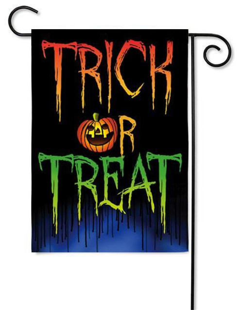 "Trick or Treat Glitter Garden Flag - 12.5"" x 18"" - 2 Sided Message"