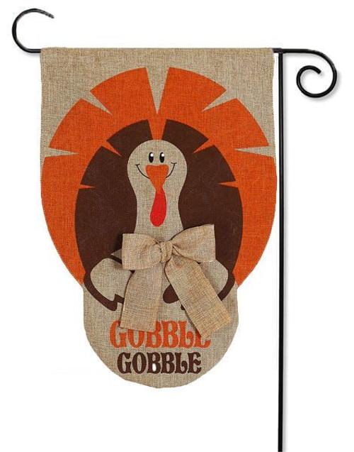 """Gobble Gobble Turkey Burlap Garden Flag - 12.5"""" x 18"""" - 2 Sided Message"""