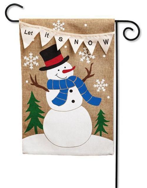 """Let it Snow Snowman Burlap Garden Flag - 12.5"""" x 18"""" - 2 Sided Message"""