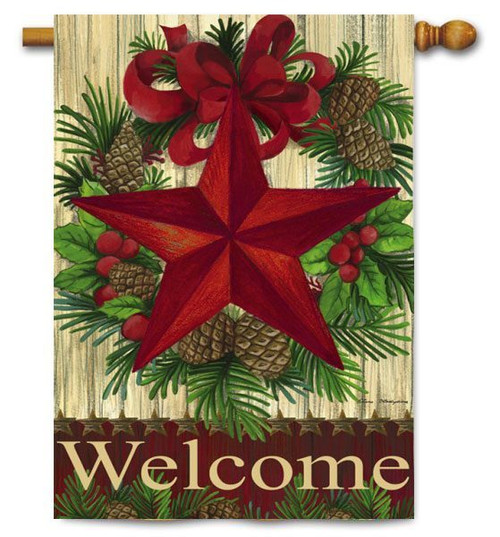 "Christmas Country Star House Flag - 29"" x 43"""