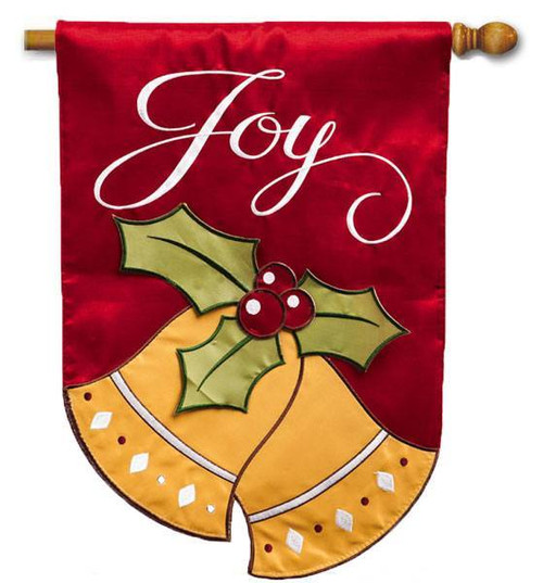 "Joyful Christmas Bells Applique House Flag - 28"" x 44"" - 2 Sided Message"