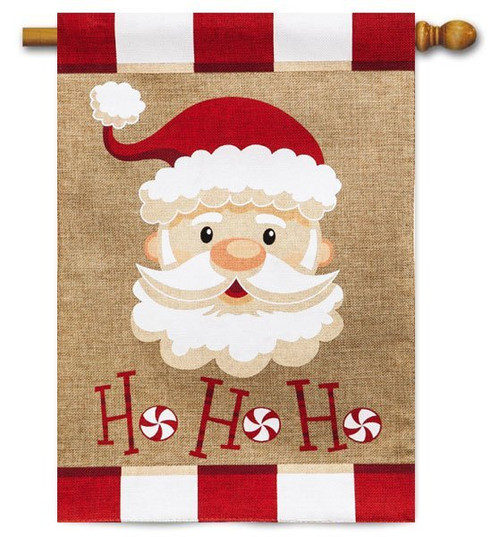 "Santa Ho Ho Ho Burlap House Flag - 28"" x 44"" - 2 Sided Message"
