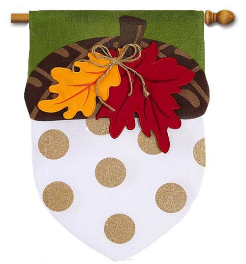 """Acorn Burlap House Flag - 28"""" x 44"""" - 3 Dimensional Details"""