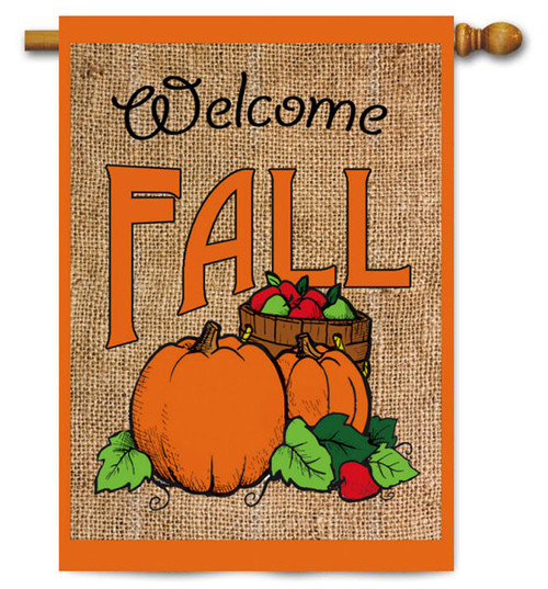 "Welcome Fall Pumpkins Burlap House Flag - 28"" x 44"" - 2 Sided Message"