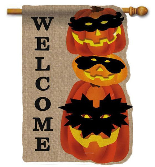 "Jack-O-Lantern Gathering Burlap House Flag - 28"" x 44"" - 2 Sided Message"