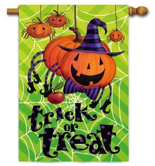 "Spider Pumpkin House Flag - 29"" x 43"" - 2 Sided Message"