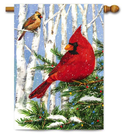 "Cardinal Birches House Flag - 29"" x 43"""