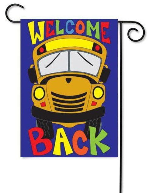 "School Bus Applique Garden Flag - 13"" x 18"" - 2 Sided Message"