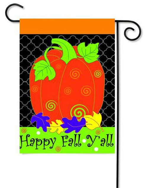 """Fall Pumpkin Applique Garden Flag - 13"""" x 18"""" - 2 Sided Message"""