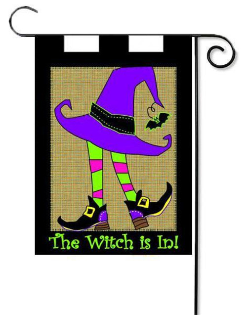 "Burlap Witch Applique Garden Flag - 13"" x 18"""