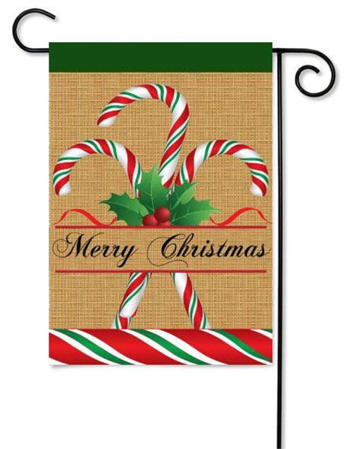 "Burlap Candy Cane Applique Garden Flag - 13"" x 18"""