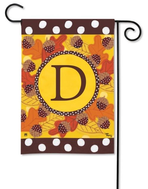 """Fall Follies Monogram Garden Flag Letter D - 12.5"""" x 18"""""""
