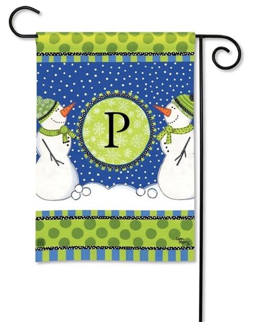 """Winter Frolic Monogram Garden Flag Letter P - 12.5"""" x 18"""""""