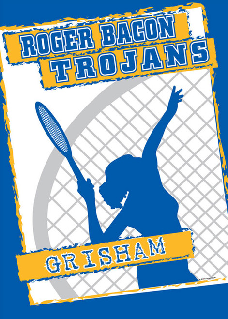 "Personalized Girls Tennis Flag - 14 "" x 19.5"""
