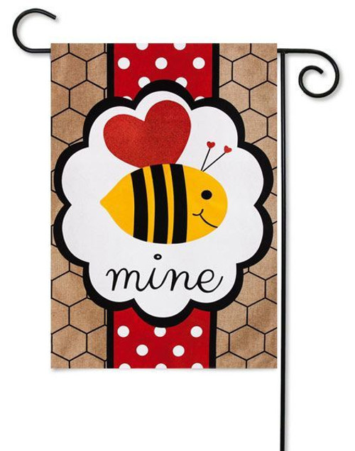 "Valentine's Bee Mine Burlap Garden Flag - 12.5"" x 18"" - Evergreen - 2 Sided Message"