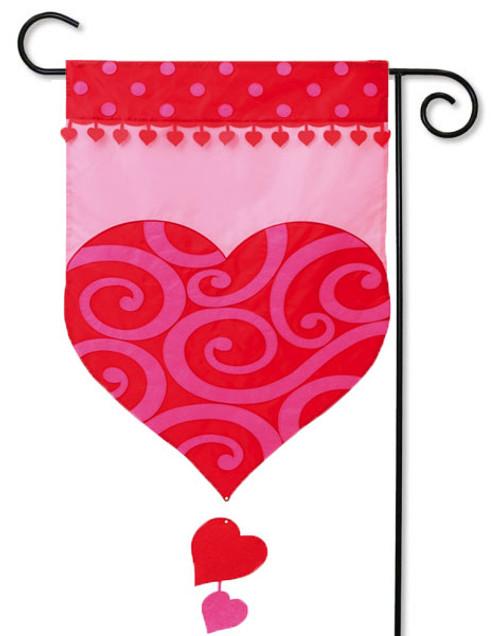"""Valentine's Heart Applique Garden Flag - 12.5"""" x 18"""" - Evergreen - 2 Sided Message"""