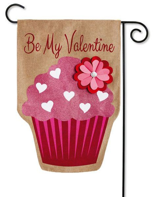 "Be My Valentine Burlap Garden Flag - 12.5"" x 18"" - Evergreen - 2 Sided Message"