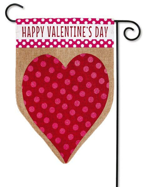 "Valentine's Heart Burlap Garden Flag - 12.5"" x 18"" - Evergreen - 2 Sided Message"