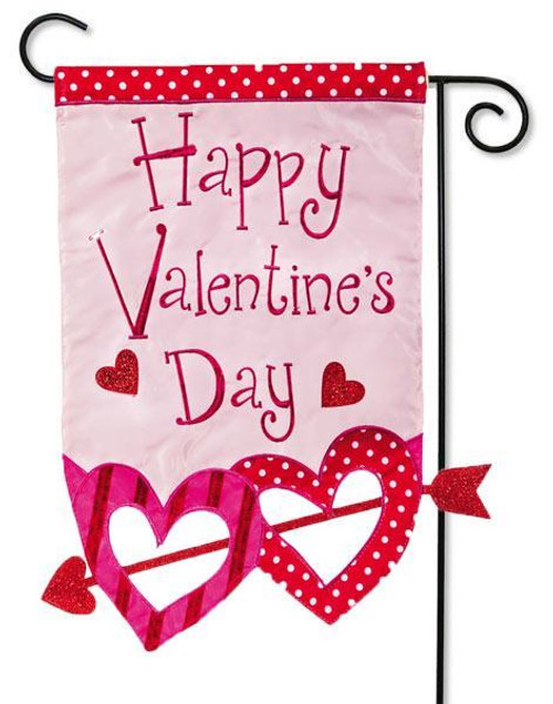 "Happy Valentine Hearts with Arrow Applique Garden Flag - 12.5"" x 18"" - Evergreen - 2 Sided Message"