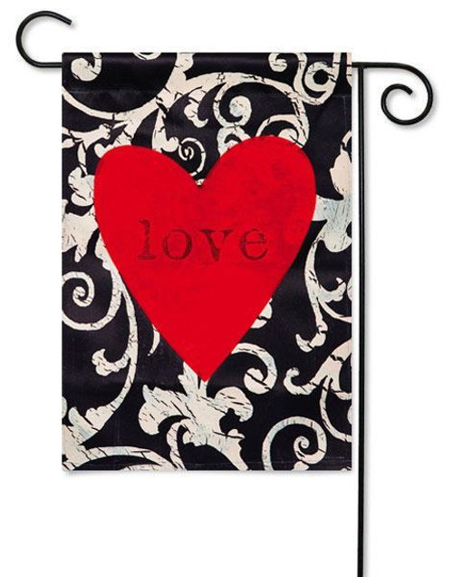 "Love in the Heart Valentine Garden Flag - 12.5"" x 18"" - Evergreen - 2 Sided Message"
