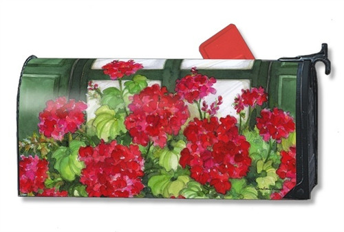 Window Box Geraniums Magnetic Mailbox Cover