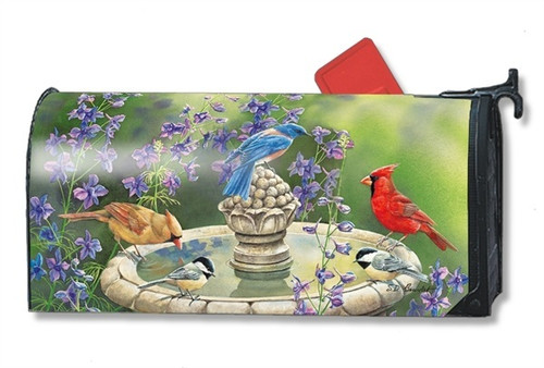 Birdbath Gathering Magnetic Mailbox Cover