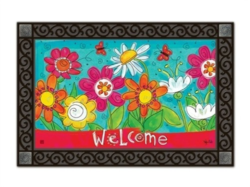 "Welcome Blooms MatMates Doormat - 18"" x 30"""