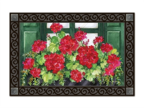 "Window Box Geraniums MatMates Doormat - 18"" x 30"""