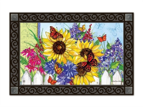 "Butterflies and Blossoms MatMates Doormat - 18"" x 30"""