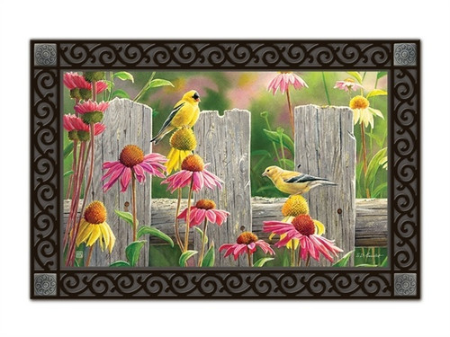 "Goldfinches and Coneflowers MatMates Doormat - 18"" x 30"""