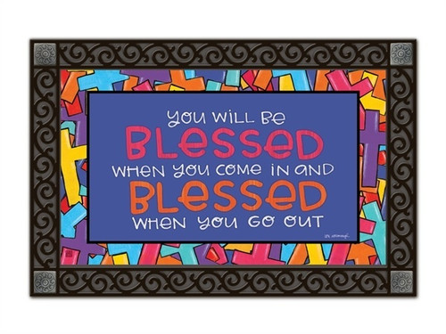 "Colorful Crosses MatMates Doormat - 18"" x 30"""