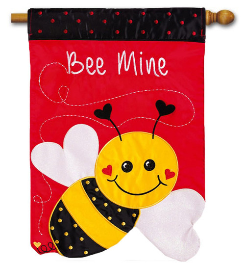 "Bee Mine Applique House Flag - 28"" x 44"" - 2 Sided Message"