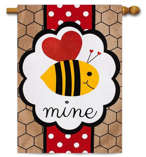 "Valentine's Bee Burlap Mine House Flag - 28"" x 44"" - 2 Sided Message"