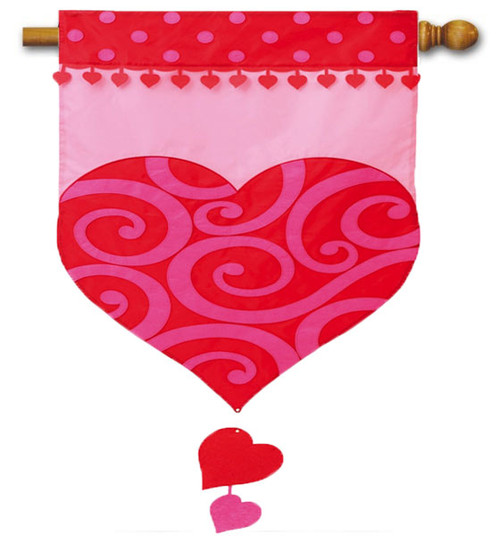 "Valentine's Heart Applique House Flag - 28"" x 44"" - 2 Sided Message"