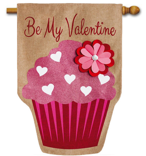 "Be My Valentine Burlap House Flag - 28"" x 44"" - 2 Sided Message"