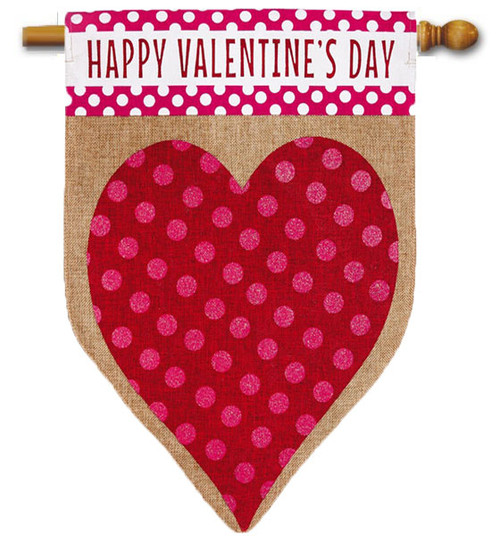 "Valentine's Heart Burlap House Flag - 28"" x 44"" - 2 Sided Message"