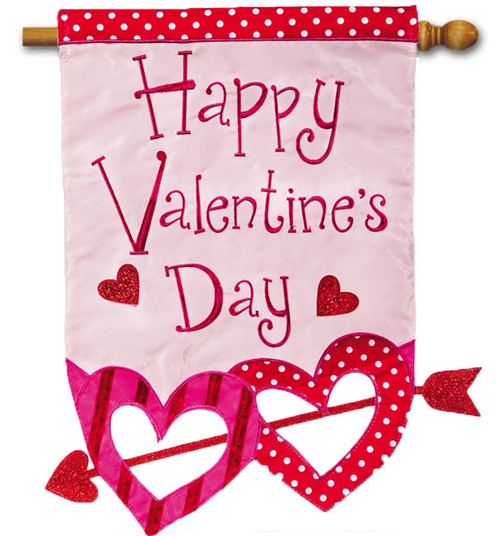 "Happy Valentine Hearts with Arrow Applique House Flag - 28"" x 44"" - 2 Sided Message"