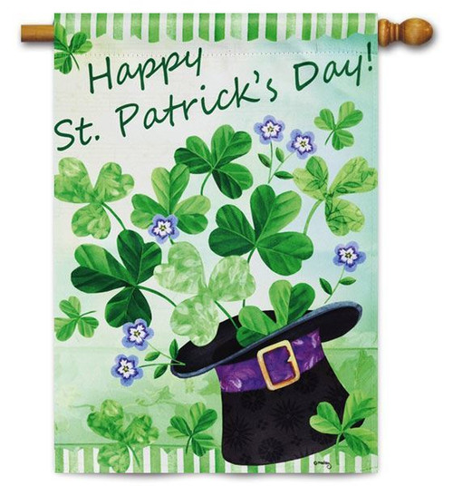 "Happy St. Patrick's Day House Flag - 28"" x 44"" - 2 Sided Message"